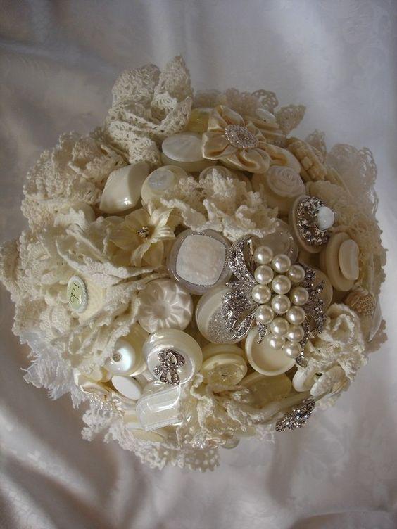 Tea And Lace Button Bouquet