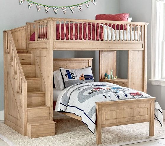 Fillmore Stair Loft Bed Lower Bed Set In 2020 Bedroom Sets Loft Bed Bunk Beds With Stairs