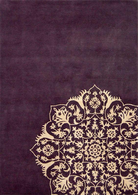 Rangoli inspired rug plum and cream harlequin susa rug for Plum and cream rug