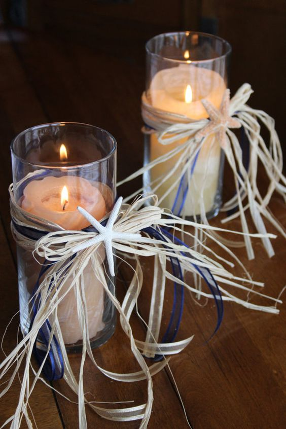 Beach themed wedding candle vases starfish centerpieces