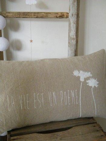Coussin lin stone wash naturelhousse forme - Peinture blanc lin ...