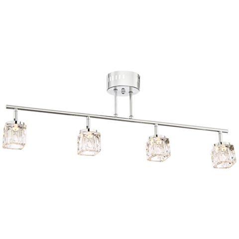 Possini Euro Cube Chrome And Crystal Track Fixture 9j421 Lamps Plus Lamps Plus Chrome Fixtures