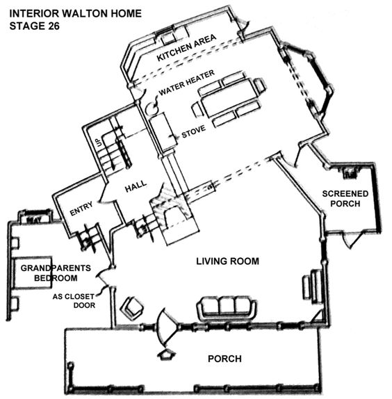The waltons floor plan the mk ii house as it first for Walton house floor plan