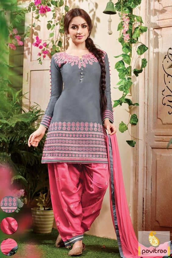 Wholesale Trader Fashions Myntra #Grey #Pink #Santoon Patiala Suit