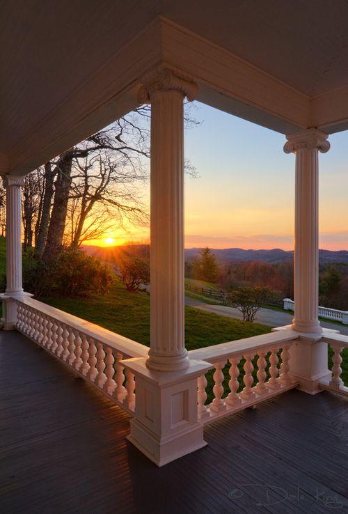 porch + columns + sunset