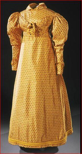 Yellow Silk-Brocade Day Dress, English, c. 1820.
