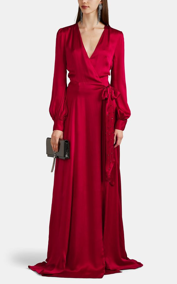 Azeeza Lin Jewel-Embellished Silk Satin Wrap Gown | Barneys New York