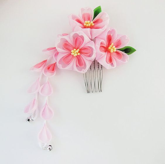 Mini Sakura Bright Days Tsumami Kanzashi Silk by HanamiGallery