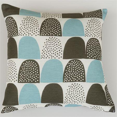Aquamarine, Charcoal Grey and White Cushion Cover