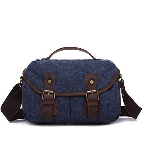 Color : Khaki AIYAMAYA Simple Retro Zipper Briefcase Canvas Messenger Shoulder Bag Color:Grey