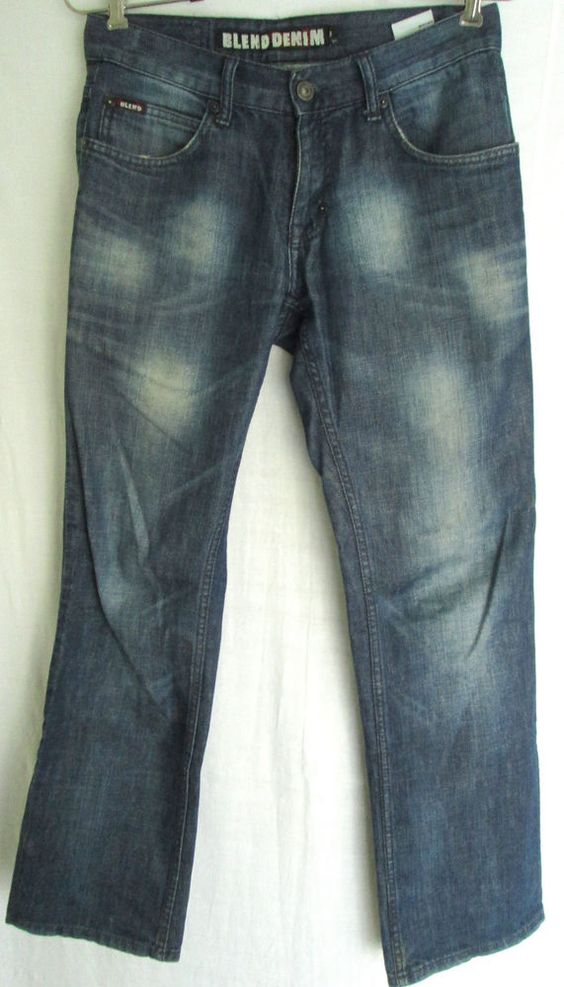 Blend Denim Mens Blue Mid-rise Zip Straight Leg Relaxed Jeans Sz