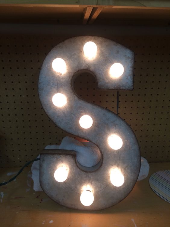 metal letter from hobby lobby drill holes add lights With metal letters with lights hobby lobby