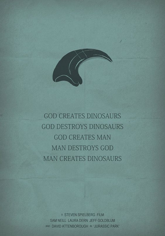 Jurassic park poster minimalist movie poster by for Minimalist dinosaur tattoo