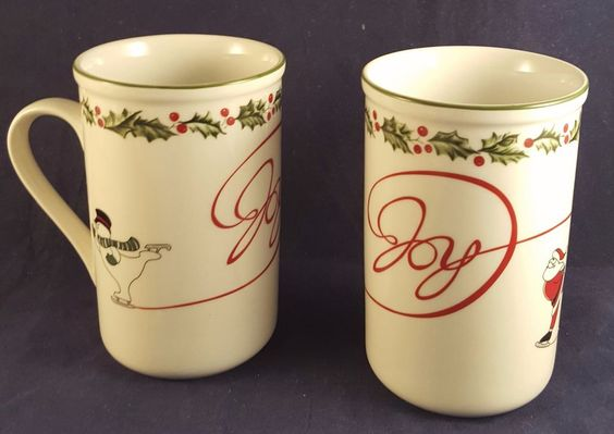 International Silver Company 2 Coffee or Cocoa Mugs Mint in Box Holiday Joy  #InternationalSilverHolidayJoy