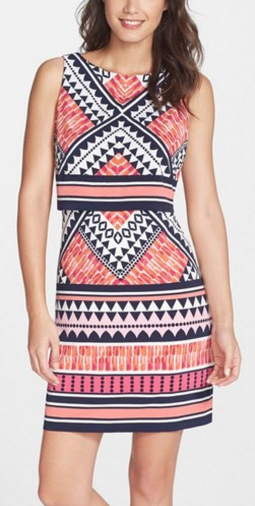 Fun Graphic Print Fitted Jersey Dress
