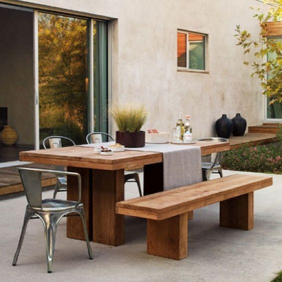 Conjunto - Mesa e Banco de madeira rústica estilo liso - Madeirado - Móveis de madeira maciça. mmm