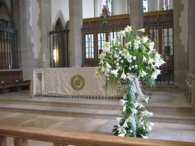 Easter flowers at Bradford Cathedral.