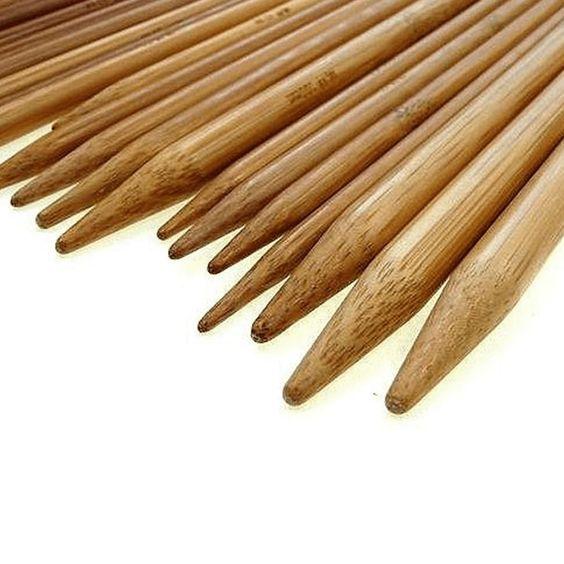 """75 PCS 15 Sizes (7.9"""" 20CM) Double Pointed Carbonized Bamboo Knitting Needles"""