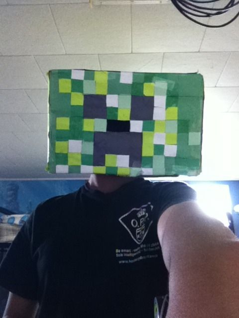 Minecraft Creeper Mask #Halloween #costume #reuse #upcycle