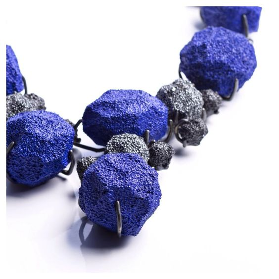 "burcusulekjewelry ""I cannot have enough of this blue""  Detail from new unique piece of Emptiness Collection... silver necklace cobalt blue/yves klein blue"