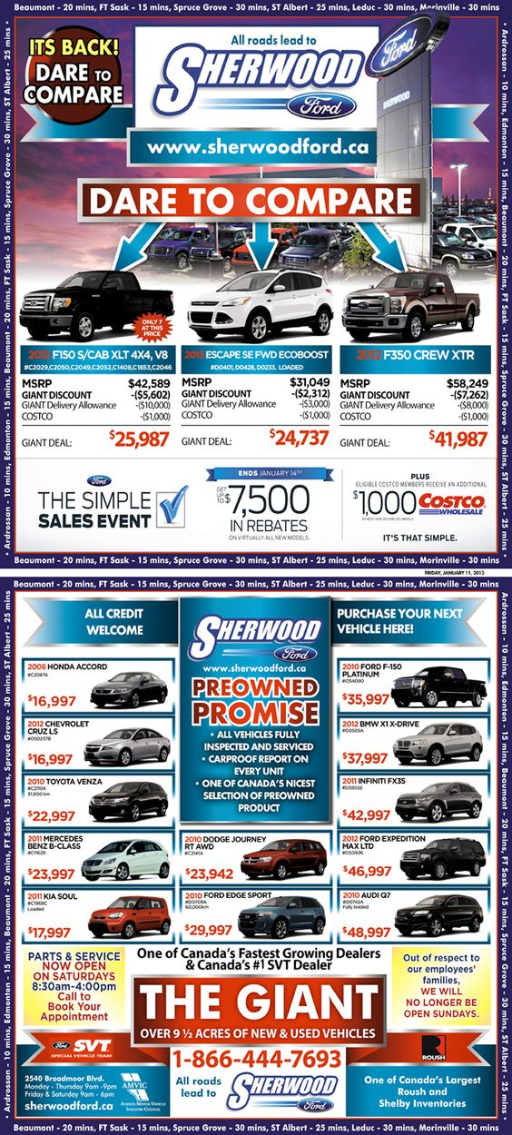 Sherwood Ford Sales Ad for Jan.10, 2013