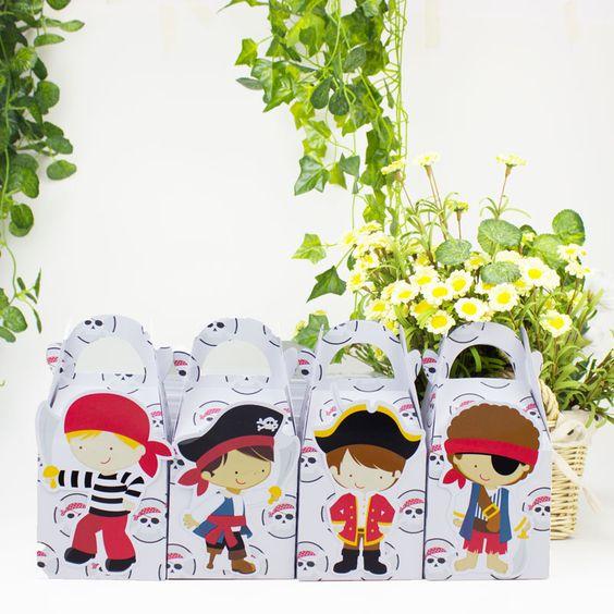 Pas cher Pirate Faveur Boîte De Bonbons Boîte Cadeau Boîte de Petit Gâteau Boîte Garçon Enfants Fête…