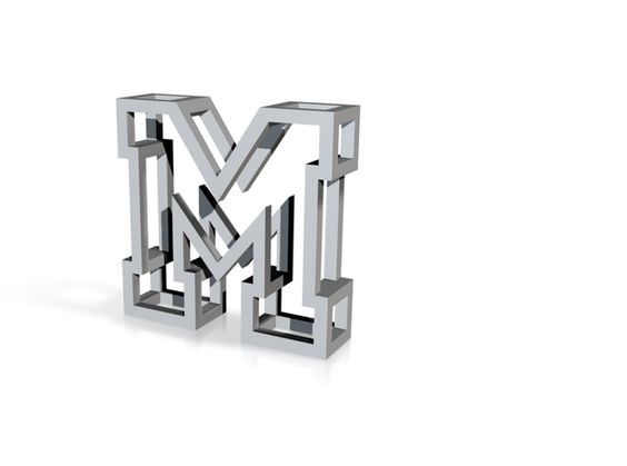 Small Letter M Pendant by MichaelMueller