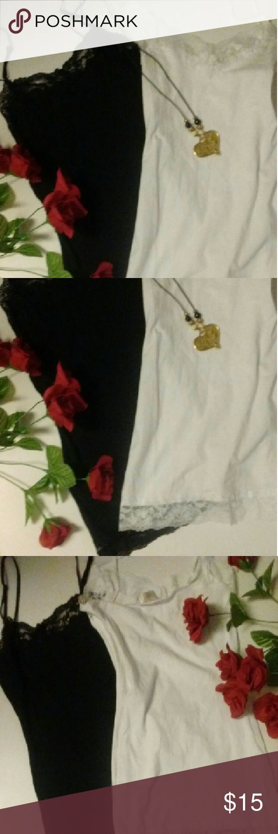 Two Lacey Tank Tops Bundle Black & White BNWT. Two small tank tops with laced v-neck & bottom hemline. One white & one black. Tops Tank Tops