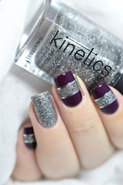 Marine Loves Polish: Color block nail art with Kinetics Gala The Big Party collection - New Years Eve nail art - striping tape - glitter