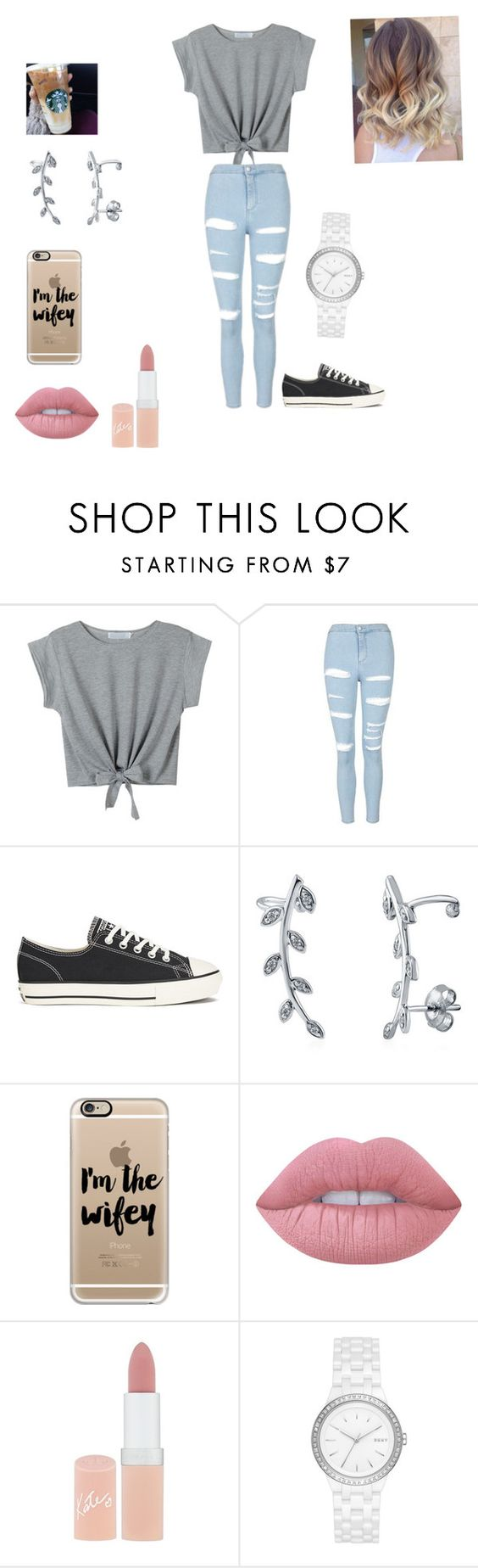 """""""#OOTD pt.2"""" by calismoedyess ❤ liked on Polyvore featuring Topshop, Converse, BERRICLE, Casetify, KEEP ME, Lime Crime, Rimmel, DKNY and tylersoutfits"""