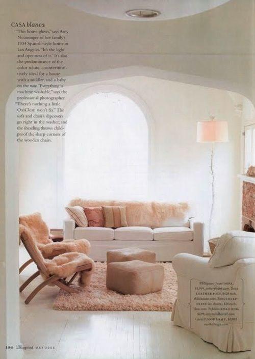 peach pink living room