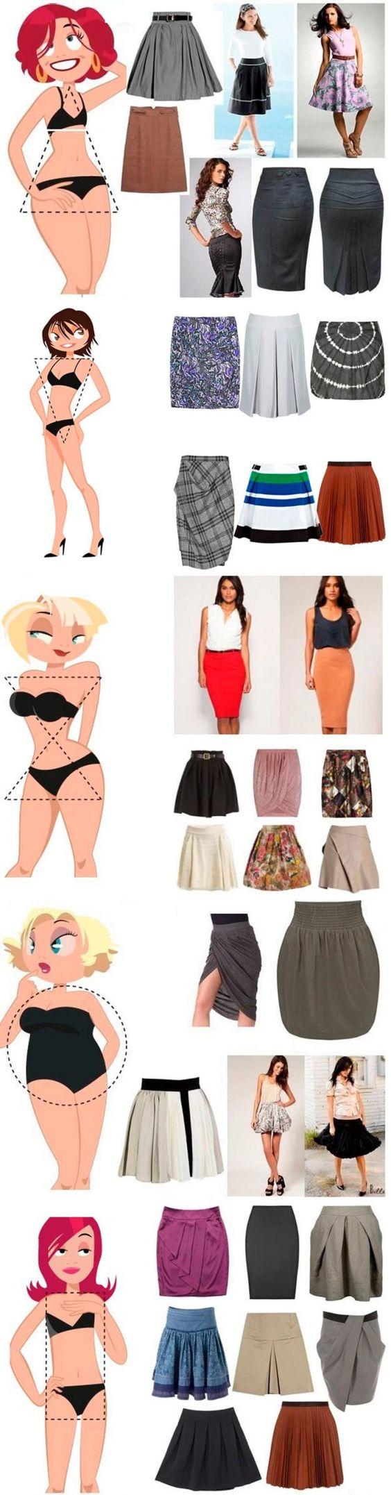 Como escolher uma saia de sua figura - dicas pouco com fotos