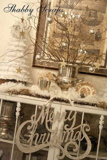 Reminds me a bit of my Mama's house...she decorates her basement like this....Shabby Scraps Christmas