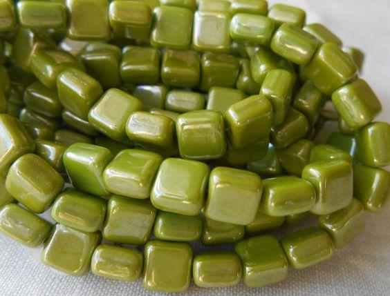 25 Czech glass opaque pistachio green luster by GloriousGlassBeads