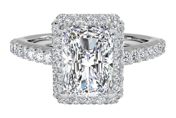 This is the engagement ring I want!!!! 1.40 Rectangle Length Radiant Diamond on a French Set Diamond Band. Please Please.