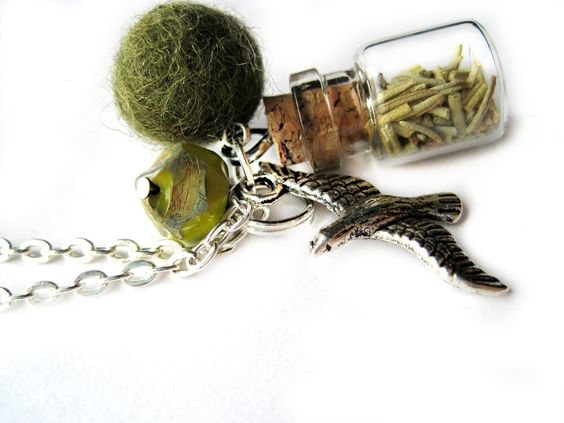 Vial necklace, green necklace - Bottle necklace, garden - Spices, mini spice jar, ROSEMARY - green felt, felt ball, bird charm, mockingbird. $18.50, via Etsy.