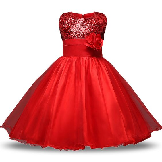 Amazon.com: NNJXD Girl Flower Sequin Princess Tutu Tulle Baby Party Dress Size 3 Years Red: Clothing