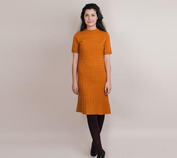 1960s Knit Dress - Vintage 60s Sweater Dress in Burnt Orange ...