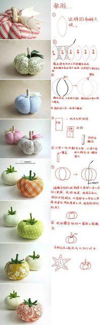 ARTE COM QUIANE - Paps,Moldes,E.V.A,Feltro,Costuras,Fofuchas 3D: Aprenda fazer:Tomate e Abóbora de tecido: