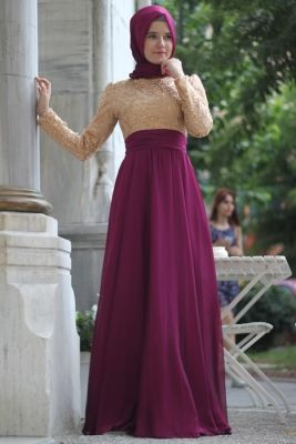 Mevra Fuşya Gold Abiye Elbise