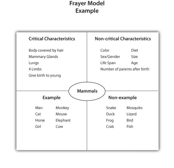 Frayer Model Example For Students Who Need Intense Vocabulary
