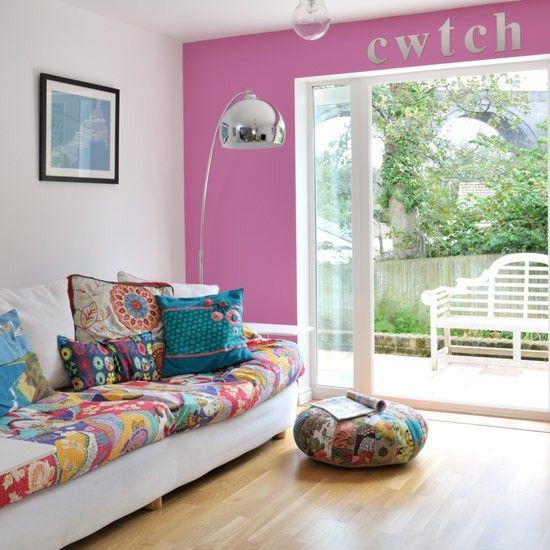 Wohnideen Wohnzimmer-lila rosa-modern