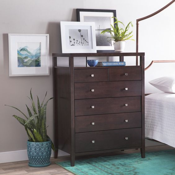 Aristo contemporary halifax brown solid wood 6 drawer - Contemporary bedroom chest of drawers ...