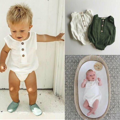 0 24m Newborn Cotton Linen Romper Baby Boy Girl Sleeveless Solid Romper Infant Toddler Outfit Sunsuit Clothes Baby Boy Romper Baby Romper Linen Romper