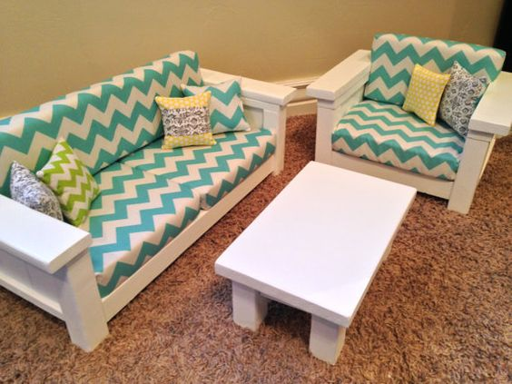 """18"""" doll Furniture - American Girl Doll size 3 pc Living room set: Sofa, Chair, Coffee Table. Turquoise/White Chevron"""