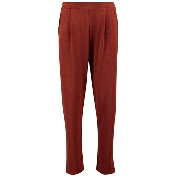 Boohoo Xanthe Pleat Front Slim Leg Trousers | Boohoo ($26) ❤ liked on Polyvore featuring pants, red palazzo pants, basic tshirt, palazzo pants, basic t shirt and red trousers