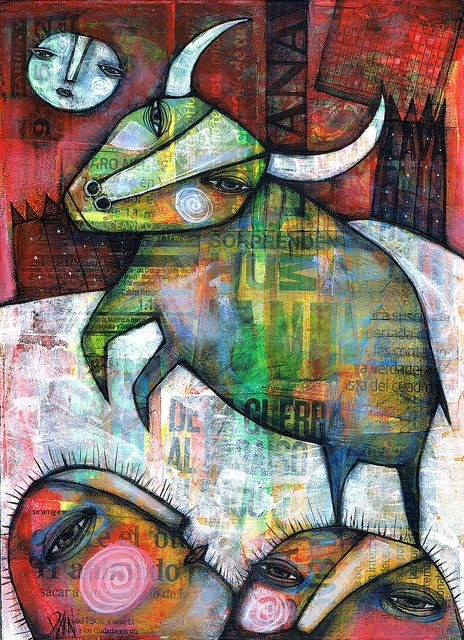 THE BULL by Dan Casado  acrylic and collage on wood: