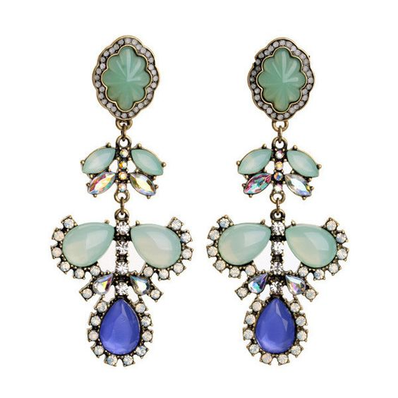 Seascape Statement Post Drop Earrings (70 VEF) ❤ liked on Polyvore featuring jewelry, earrings, drop earrings, colorful earrings, multi colored earrings, tri color earrings and multicolor earrings