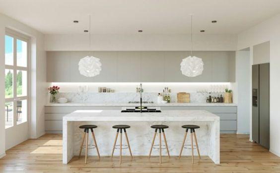 Weiße Küche mit grifflosen Fronten und Beton-Arbeitsplatte Küche - team 7 küche gebraucht