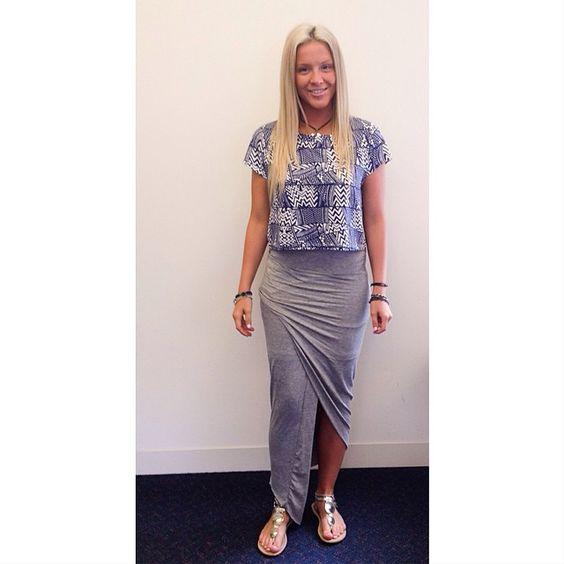 Gorgeous customer Bec wears our Wave Racer Crop and Edgeways Skirt! Shop this look now at www.tweetweetfashion.com.au #TWEETYOSELF #TWEETGIRL